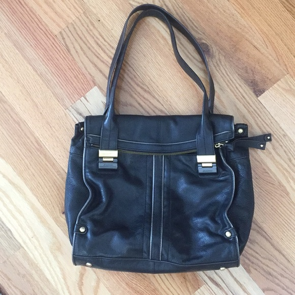 Anthropologie Black leather tote